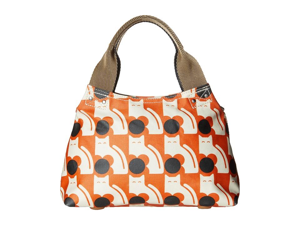 Orla Kiely - Poppy Cat Print Classic Zip Shoulder (Persimmon) Shoulder Handbags