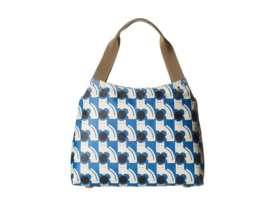 Orla Kiely - Poppy Cat Print Zip Shoulder (Powder Blue) Shoulder Handbags