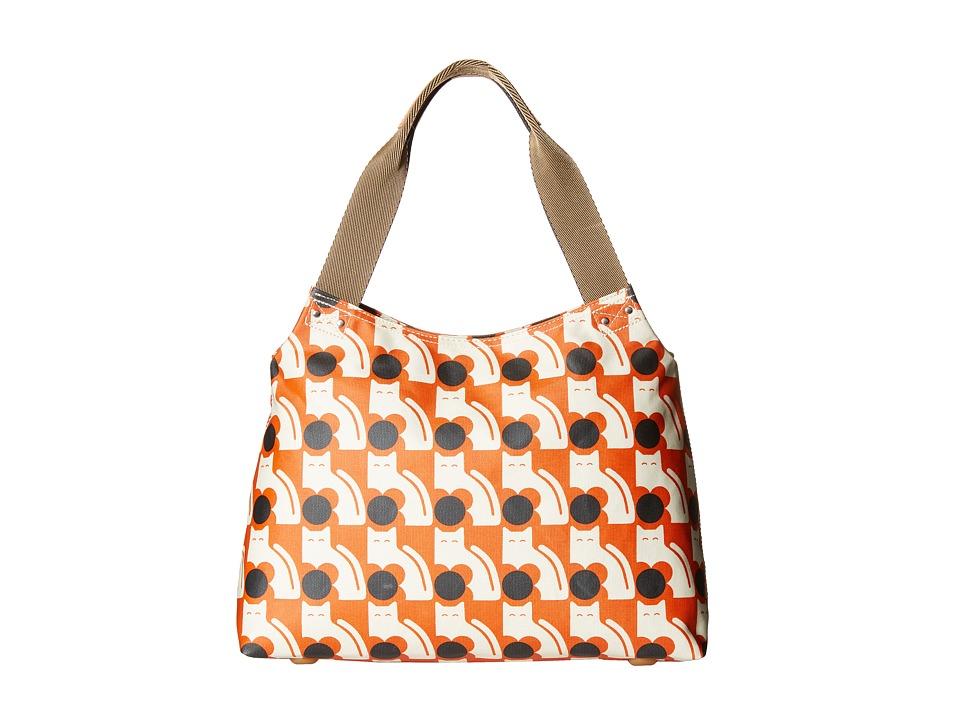 Orla Kiely - Poppy Cat Print Zip Shoulder (Persimmon) Shoulder Handbags