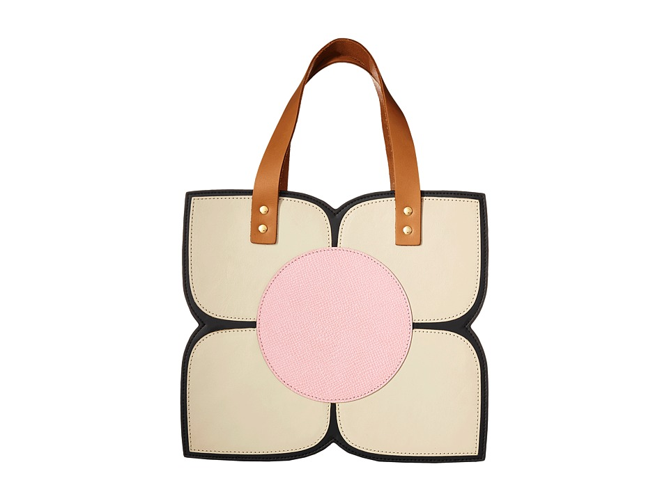 Orla Kiely - Square Flower Applique Handbag (Black) Handbags