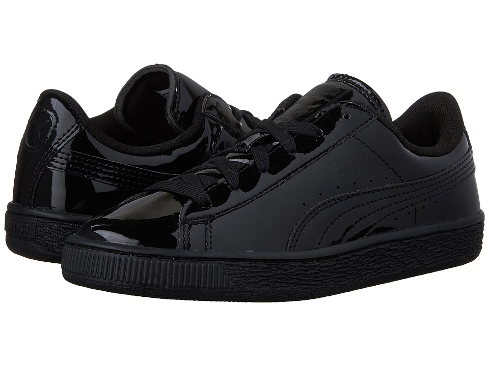 Puma Kids Basket Classic Patent PS (Little Kid/Big Kid) (Puma Black/Puma Black) Kids Shoes