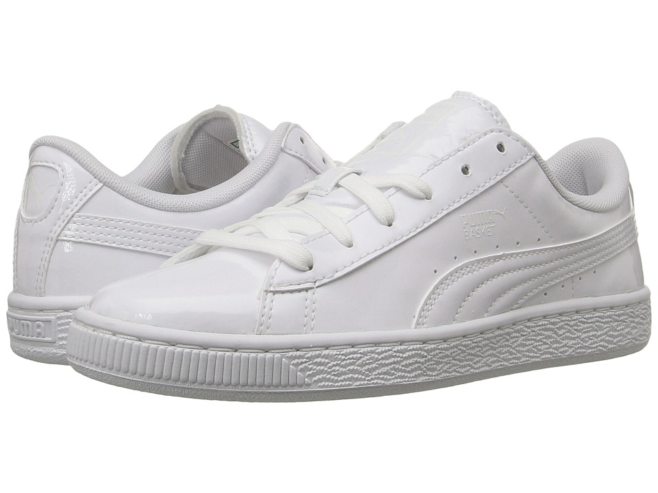 Puma Kids - Basket Classic Patent Jr (Big Kid) (Puma White/Puma White) Kids Shoes