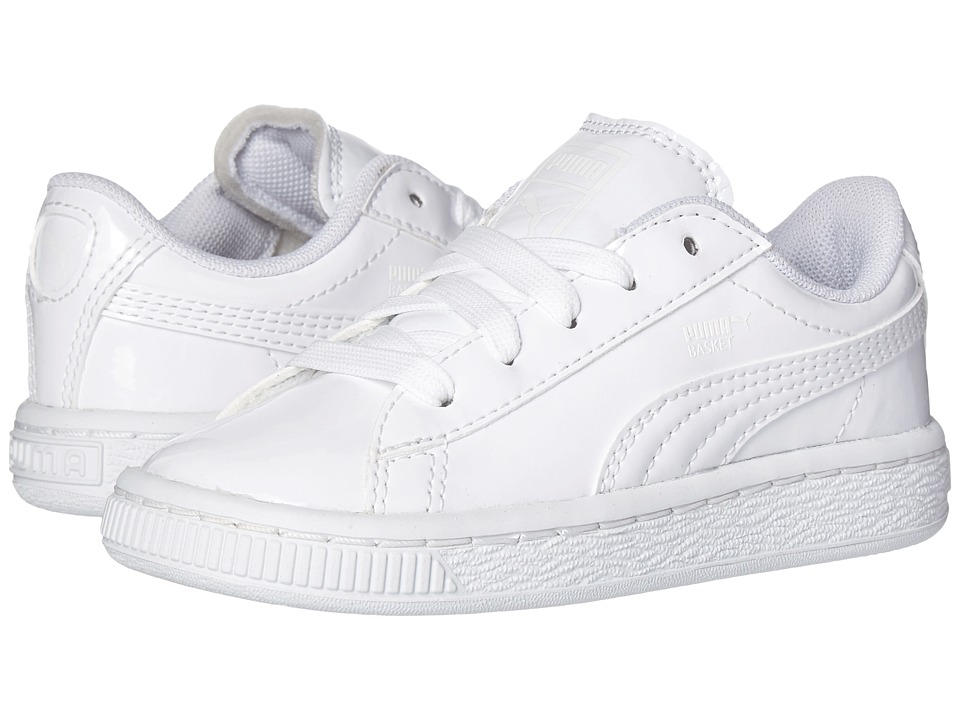 Puma Kids - Basket Classic Patent Inf (Toddler) (Puma White/Puma White) Kids Shoes