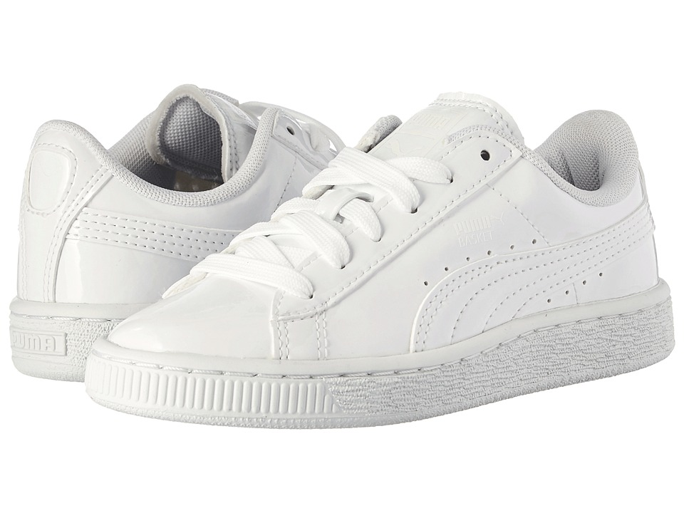 Puma Kids - Basket Classic Patent PS (Little Kid/Big Kid) (Puma White/Puma White) Kids Shoes