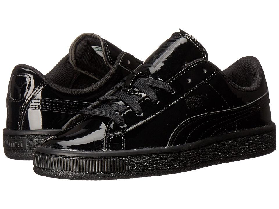 Puma Kids - Basket Classic Patent Jr (Big Kid) (Puma Black/Puma Black) Kids Shoes