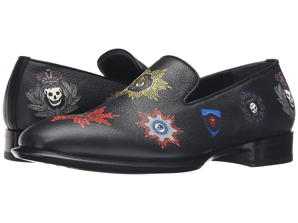 Alexander McQueen - Gable Badge Loafer (Black) Men's Slip on Shoes
