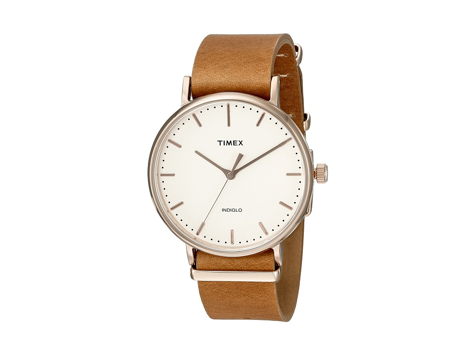 Timex - Fairfield Leather Slip-Thru Strap (Brown) Watches