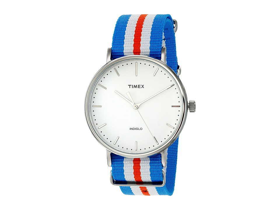 Timex - Fairfield Nylon Slip-Thru Strap (Orange/Blue/White) Watches