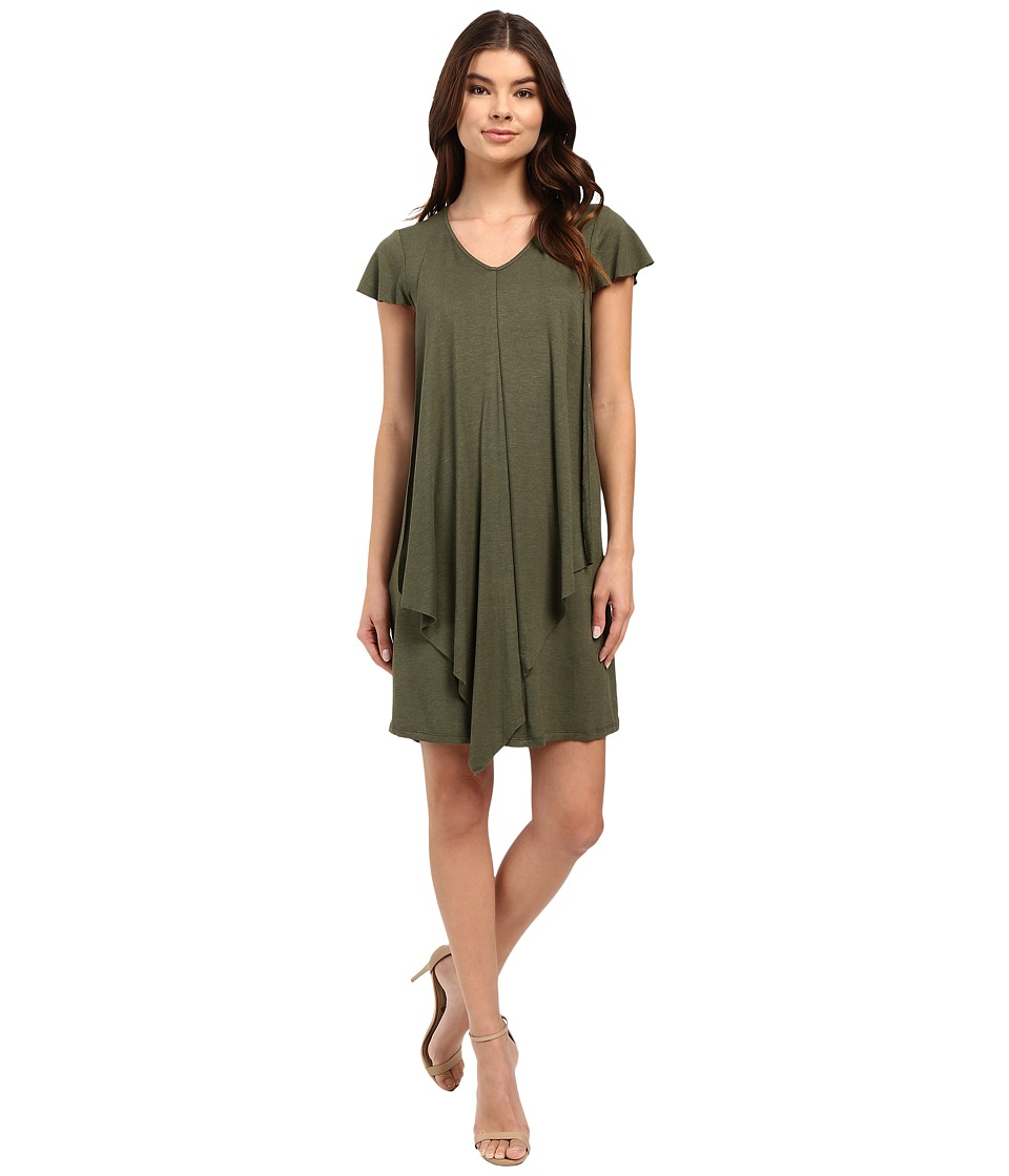 kensie Drapey French Terry Dress KS2K7531 (Heather Olive) Women