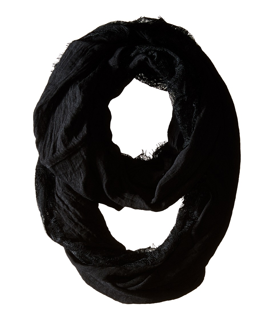 Betsey Johnson - Lace Border Infinity Loop (Black) Scarves