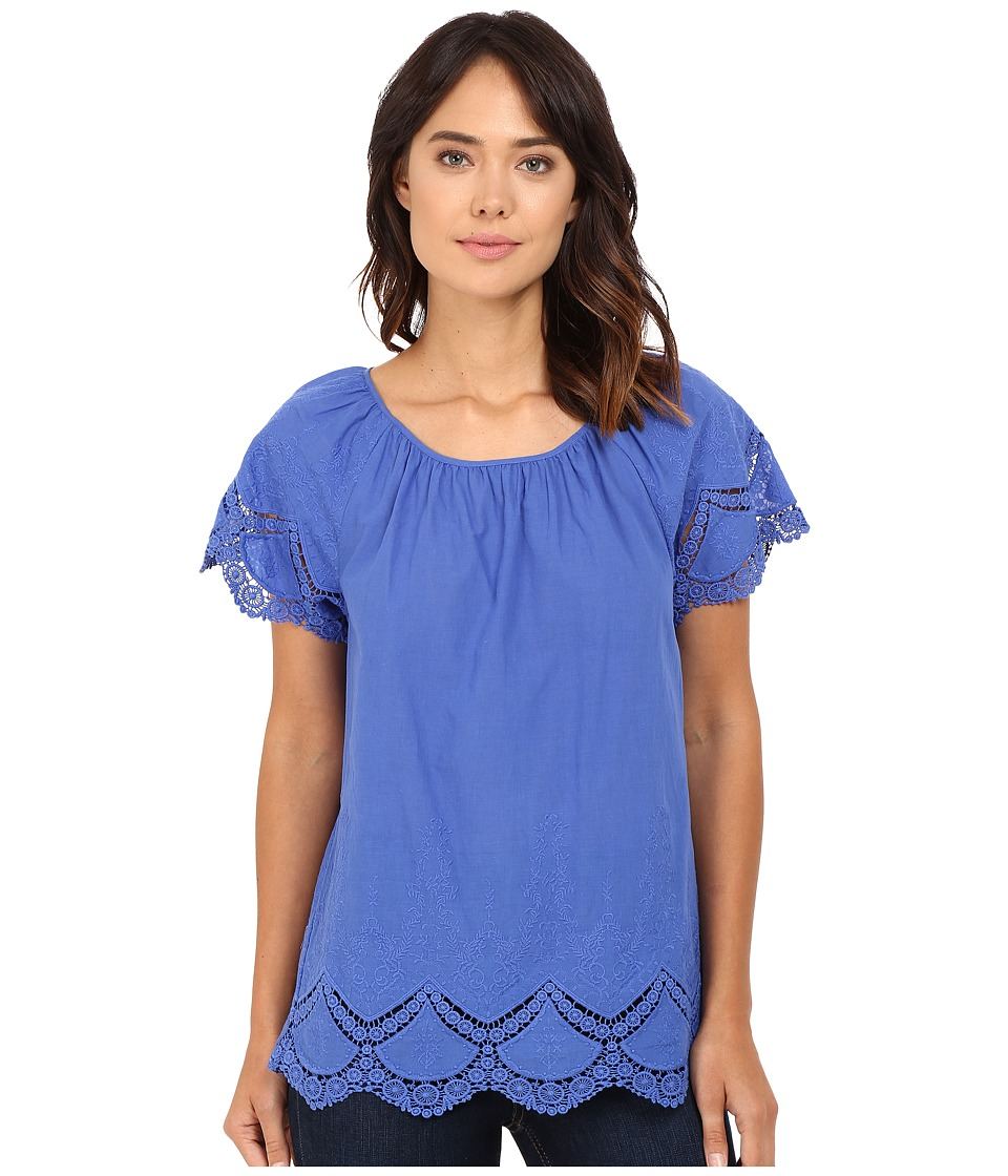 kensie - Crochet Embroidered Cotton Top KS7K4203 (Blue Bell) Women's Clothing