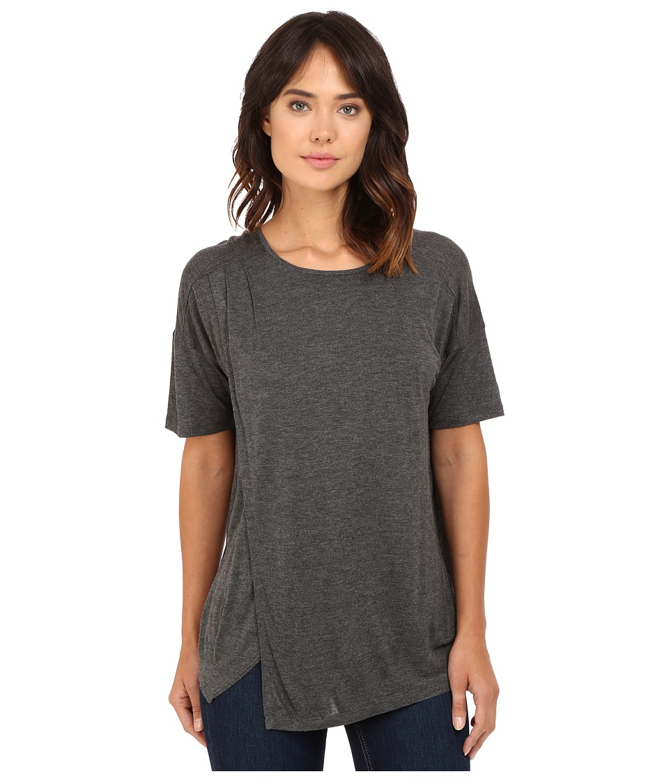 kensie - Sheer Viscose Tees Top KS7K3283 (Heather Dark Grey) Women's Clothing