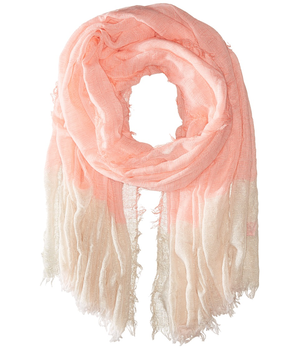 Betsey Johnson - Good Vibes Crinkle Wrap with Lurex (Neon Coral) Scarves