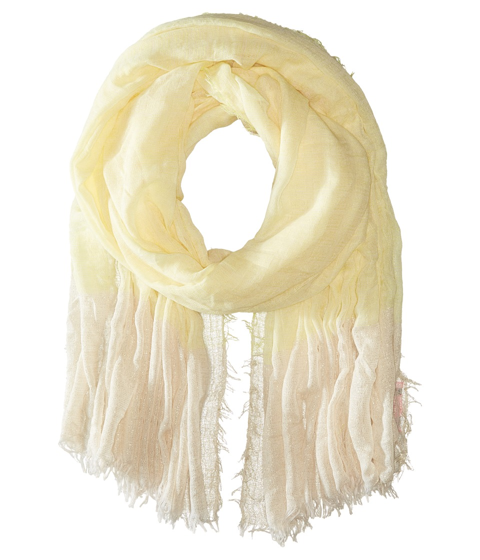 Betsey Johnson - Good Vibes Crinkle Wrap with Lurex (Yellow) Scarves