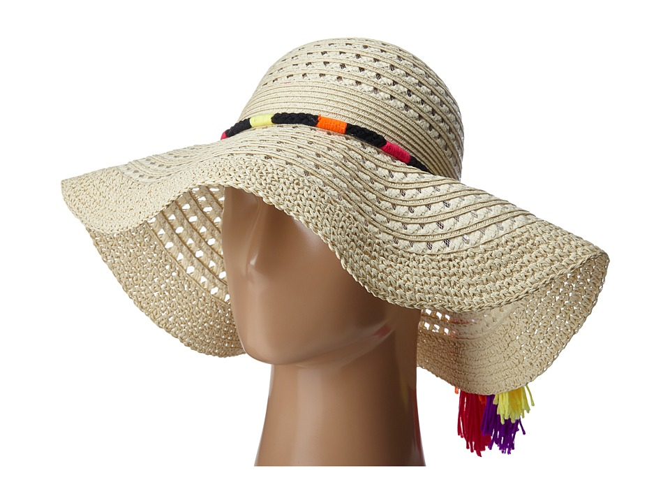 Betsey Johnson - Floppy Straw Hat with Pom Pom Tassels (Fuchsia) Caps