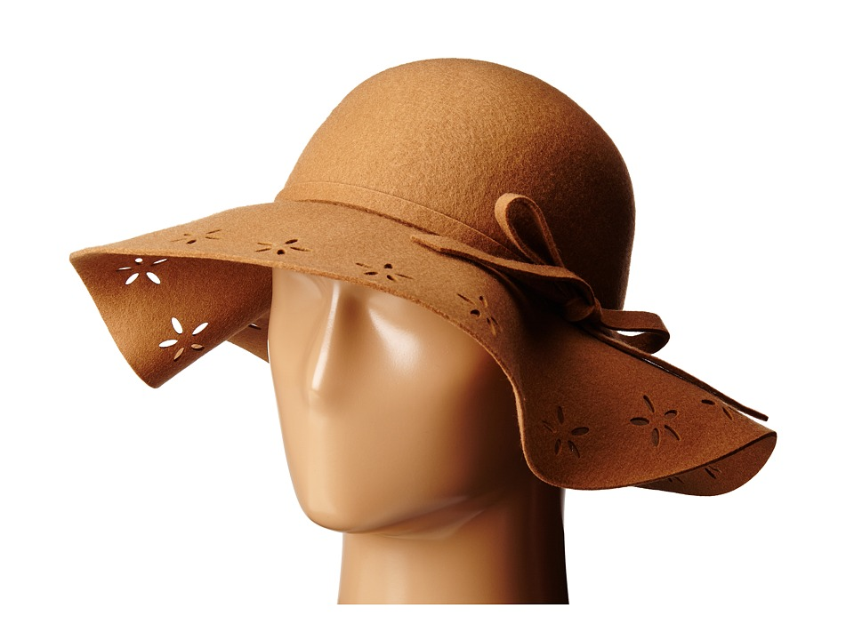 Betsey Johnson - Felt Floppy with Floral Cut Out Brim (Camel) Caps