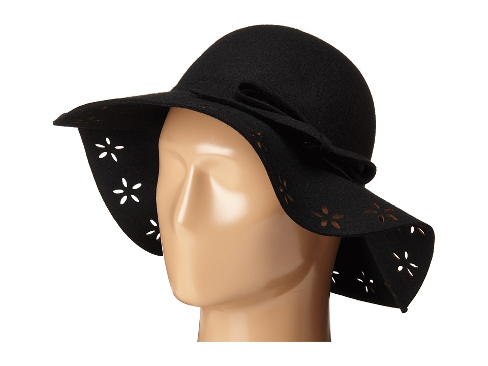 Betsey Johnson - Felt Floppy with Floral Cut Out Brim (Black) Caps