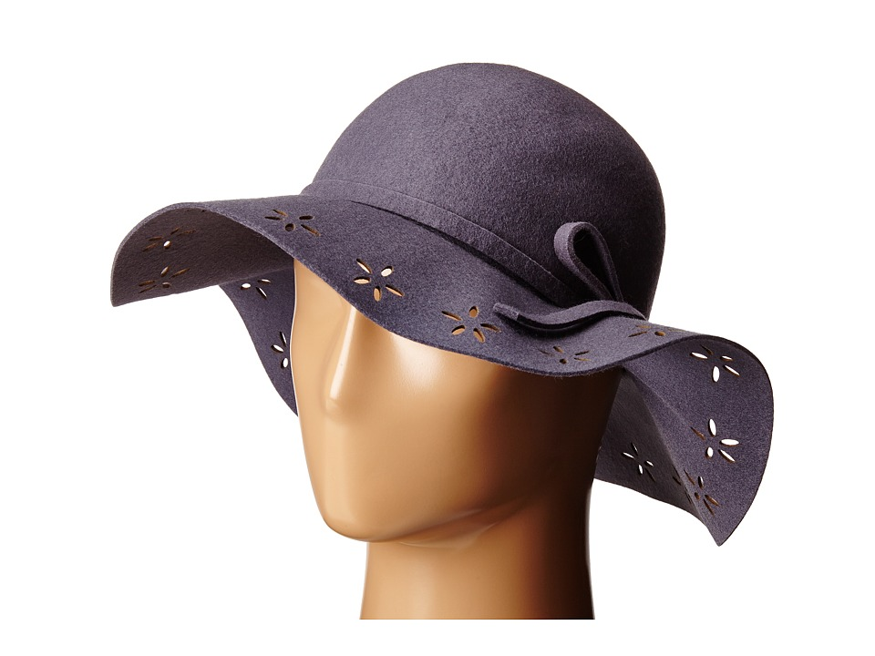 Betsey Johnson - Felt Floppy with Floral Cut Out Brim (Grey) Caps