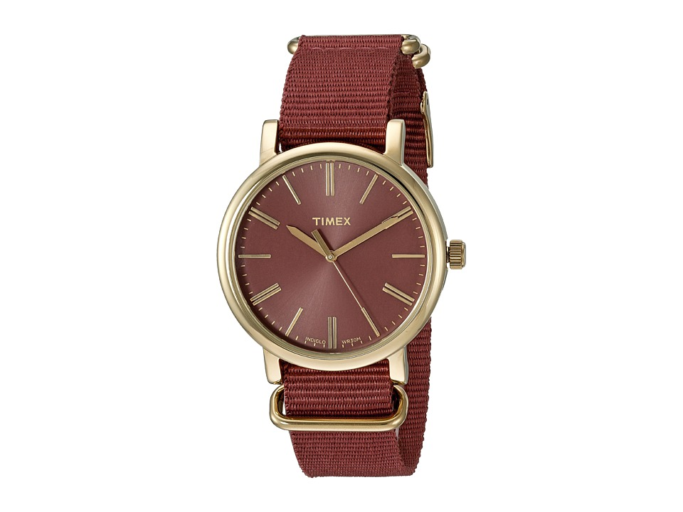 Timex - Originals Tonal Marsala Nylon Slip-Thru Strap (Red/Gold) Watches