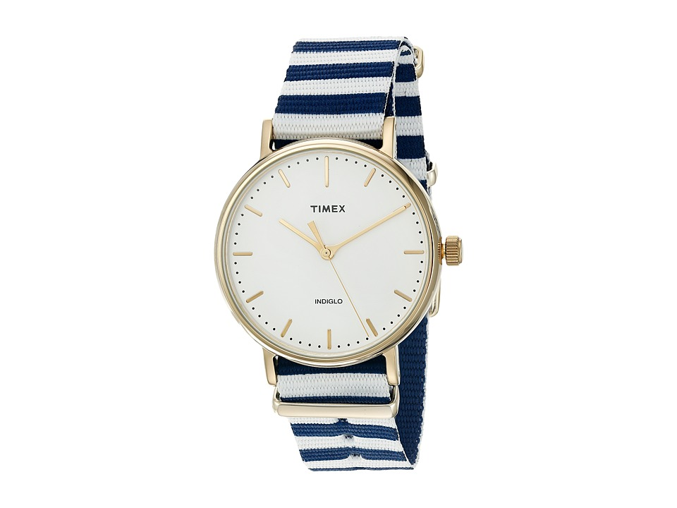 Timex - Fairfield Nylon Slip-Thru Strap (Blue/White) Watches