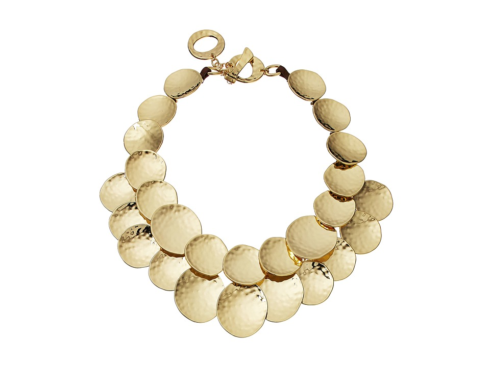 Robert Lee Morris - Hammered Gold Disc Frontal Necklace (Shiny Gold) Necklace