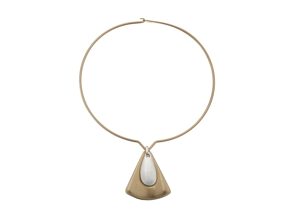 Robert Lee Morris - Round Wire Triangle Pendant Necklace (Two-Tone) Necklace