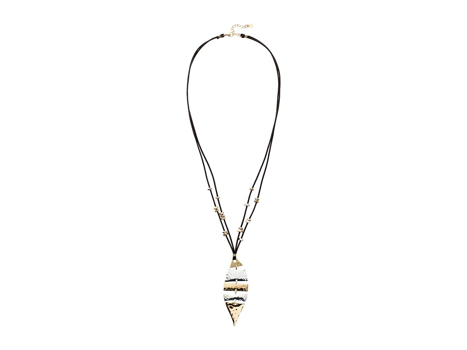 Robert Lee Morris - Two-Tone Leather Shaky Pendant Necklace (Brown) Necklace