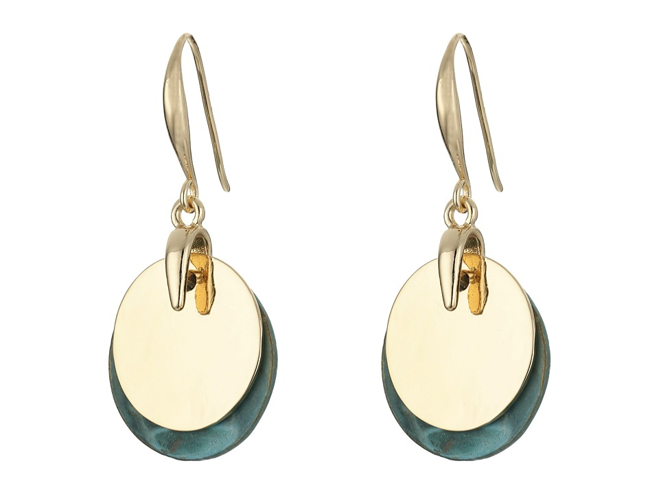 Robert Lee Morris - Patina Gold Disc Drop Earrings (Patina) Earring