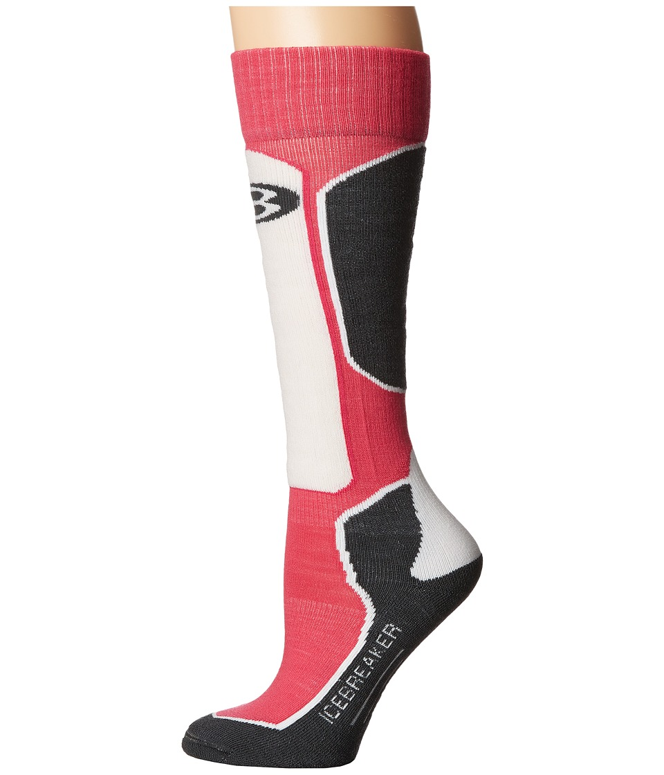 Icebreaker - Ski + Light OTC 1-Pair Pack (Pop Pink/Stealth/Snow) Women's Crew Cut Socks Shoes