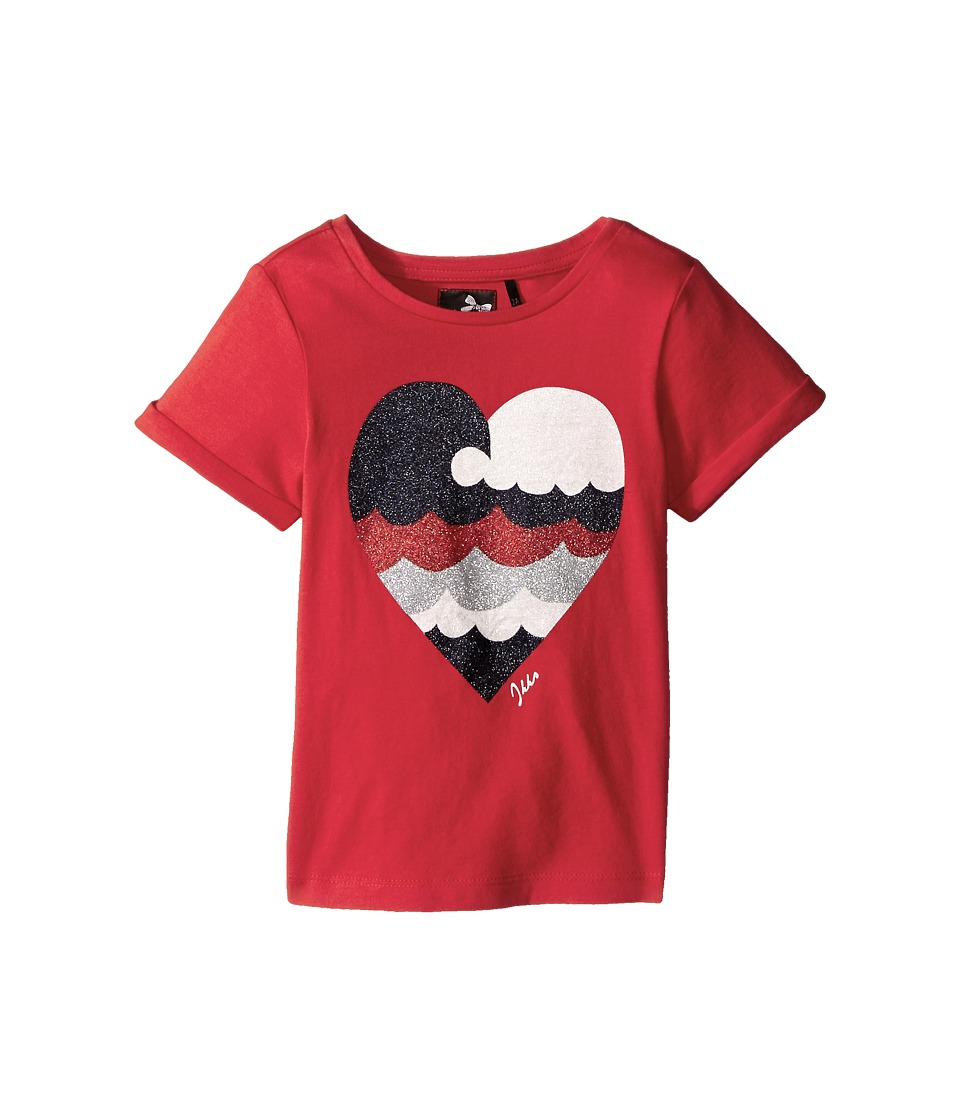 IKKS - Short Sleeve T-Shirt Glitter Heart (Toddler/Little Kids/Big Kids) (Red/Orange) Girl's T Shirt