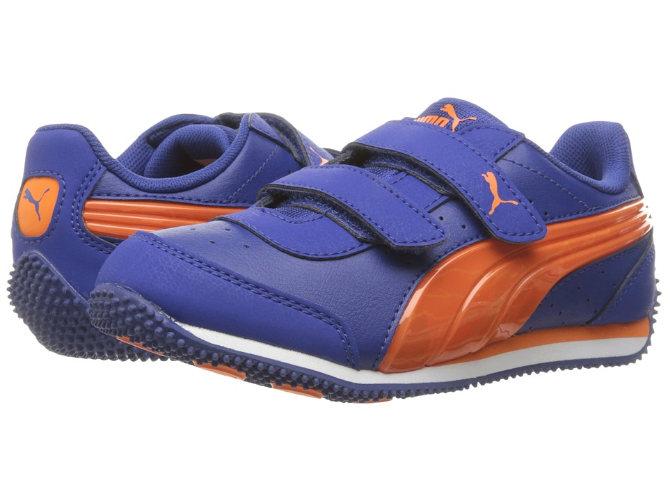Puma Kids PUMA Speed Light Up V PS (Little Kid/Big Kid) (Mazarine Blue/Vibrant Orange) Boys Shoes