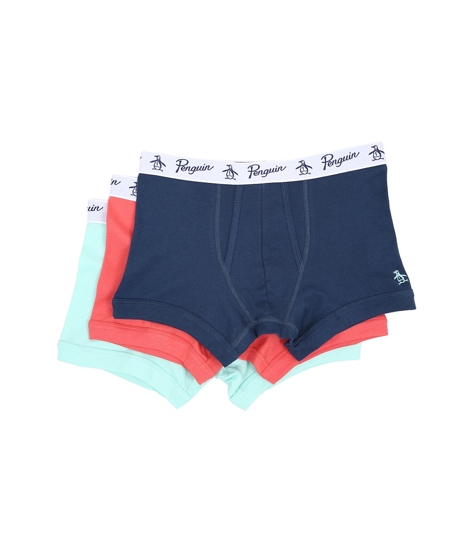 Original Penguin - 100% Cotton 3 Pack Trunk (Dark Blue/Coral/Blue Tint) Men's Underwear