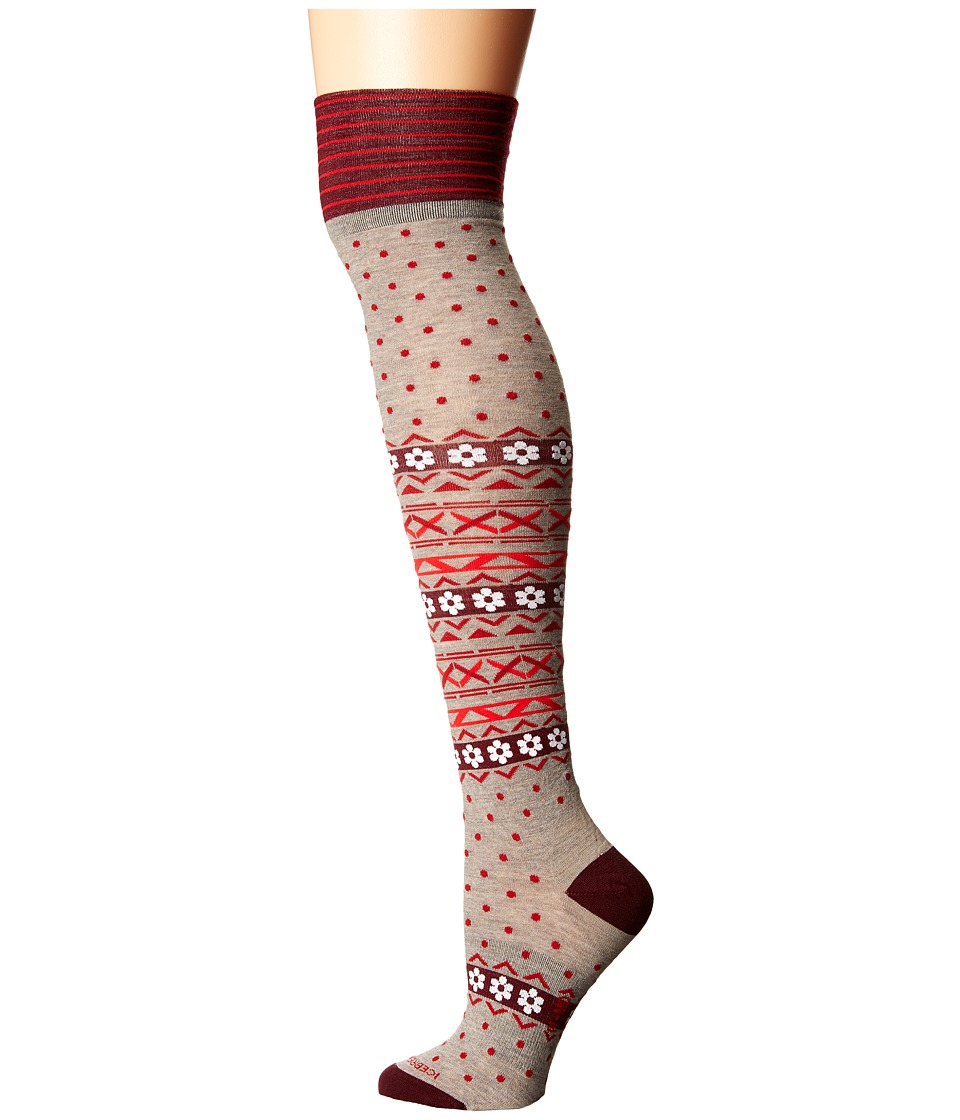 Icebreaker - Lifestyle Fine Gauge Ultra Light Over The Knee Dotty 1-Pair Pack (Birch Heather/Redwood/Oxblood) Women's Crew Cut Socks Shoes