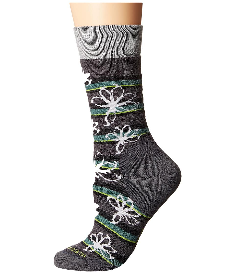 Icebreaker - Lifestyle Medium Crew Blossom 1-Pair Pack (Monsoon/Blizzard Heather/Canoe) Women's Crew Cut Socks Shoes