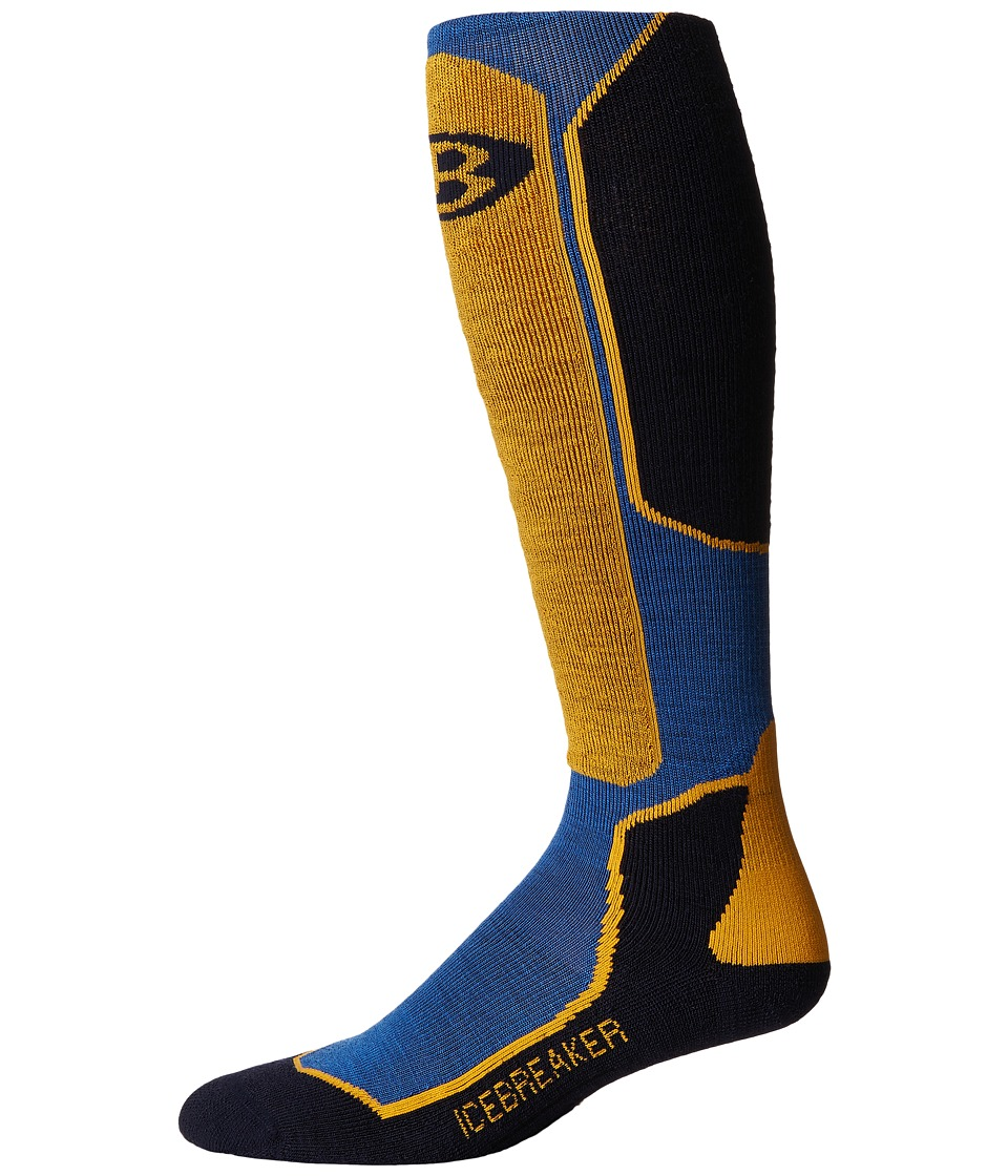 Icebreaker - Ski + Light Over The Calf 1-Pair Pack (Pelorus/Admiral/Bolt) Men's Crew Cut Socks Shoes