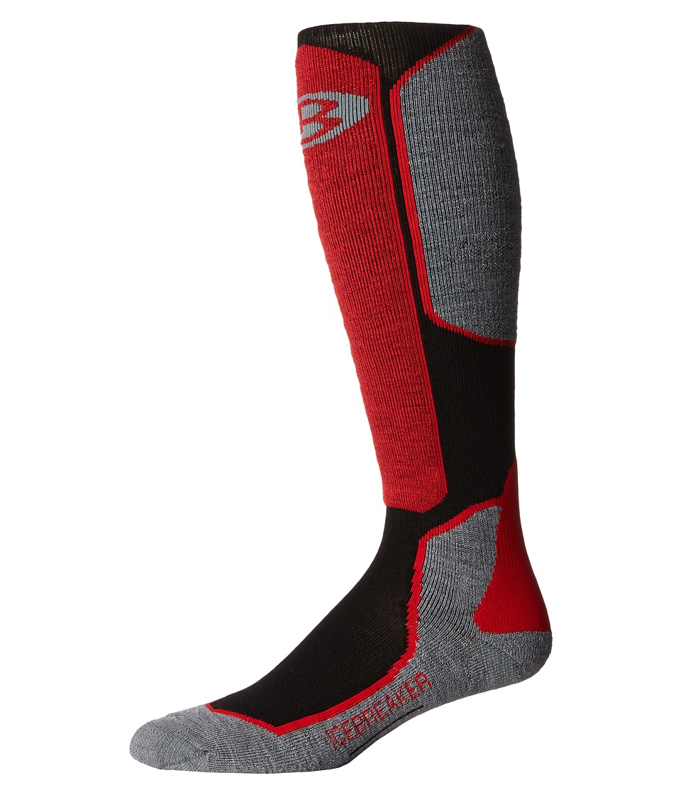 Icebreaker - Ski + Light Over The Calf 1-Pair Pack (Black/Twister Heather/Rocket) Men's Crew Cut Socks Shoes