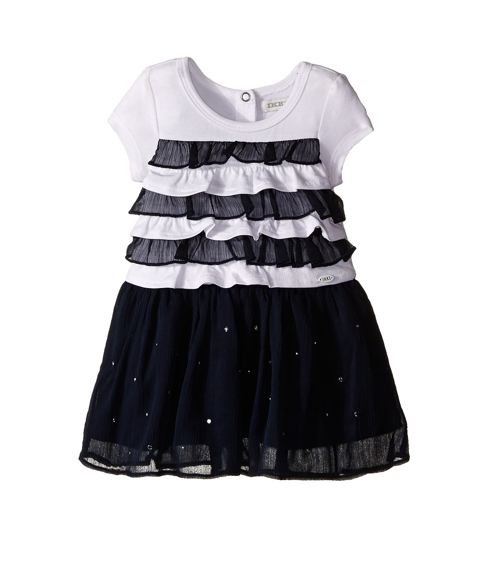 IKKS - Dress with Ruffled Top Chiffon Skirt with Rhinestones (Infant/Toddler) (Navy) Girl's Dress