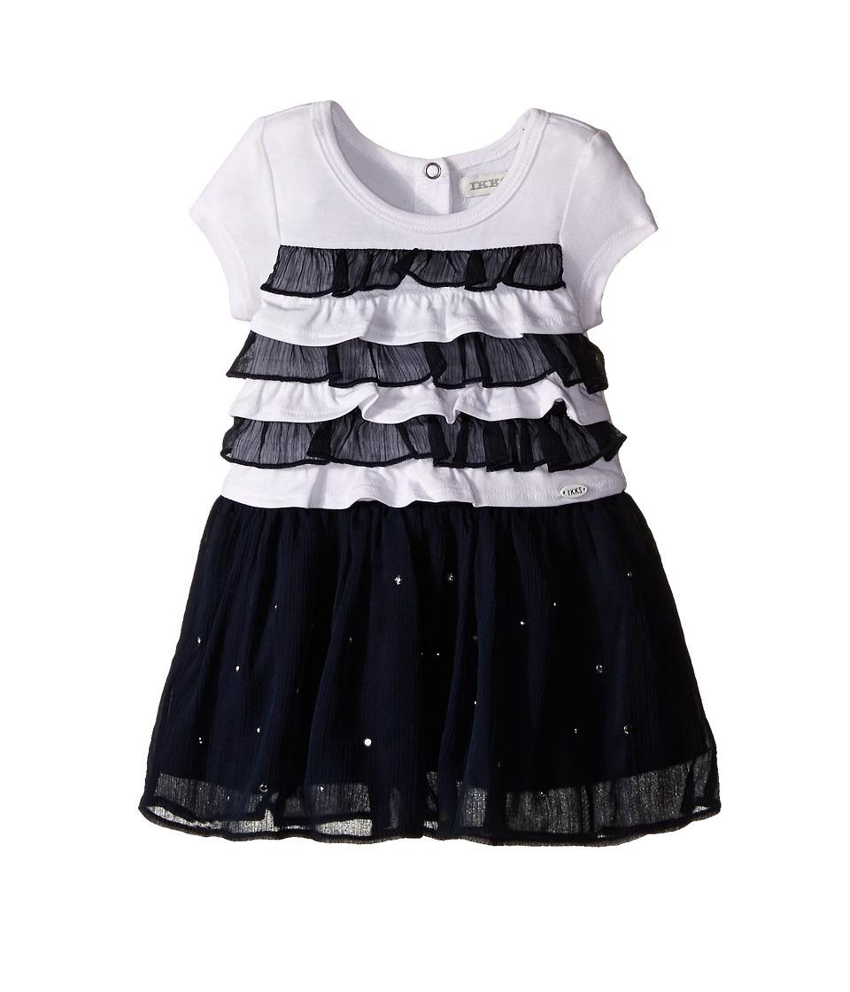 IKKS - Dress with Ruffled Top Chiffon Skirt with Rhinestones (Infant/Toddler) (Navy) Girl's Dress