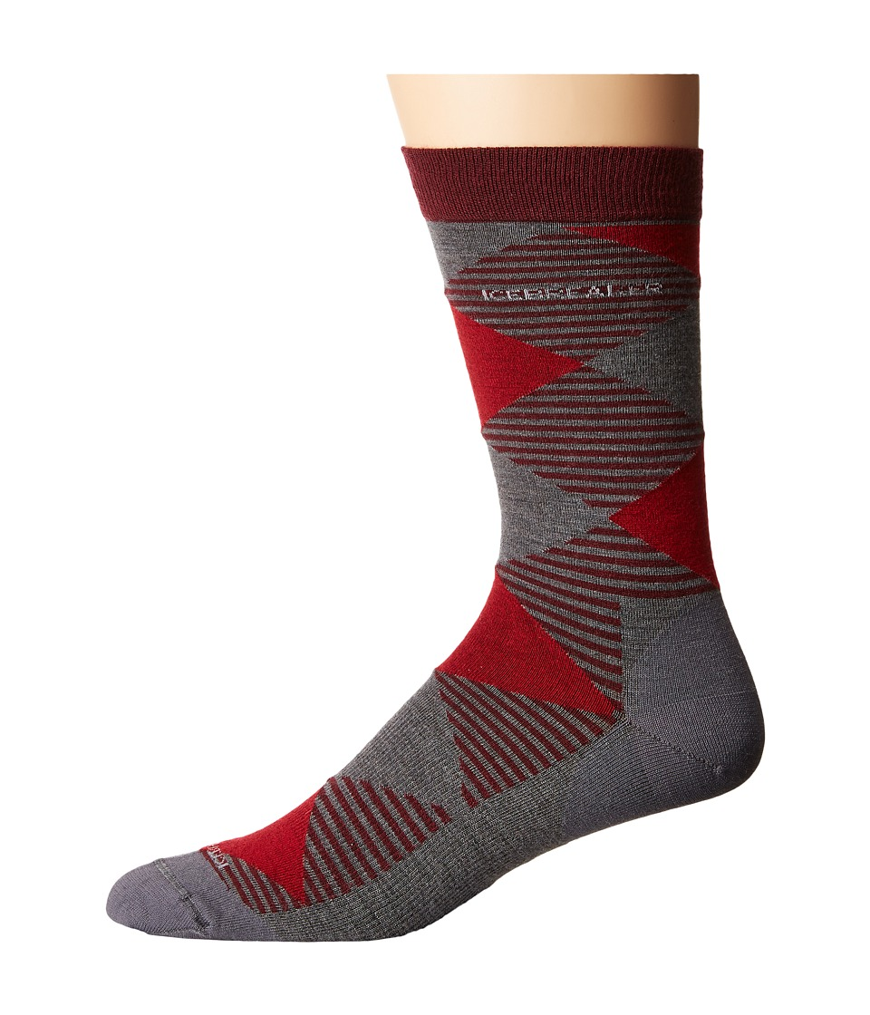 Icebreaker - Lifestyle Fine Gauge Ultra Light Crew Argyle 1-Pair Pack (Redwood/Jet Heather/Oxblood) Men's Crew Cut Socks Shoes