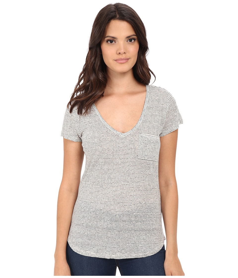 Paige - Lynnea Tee (White/Dark Ink Blue Stripe) Women's Short Sleeve Pullover