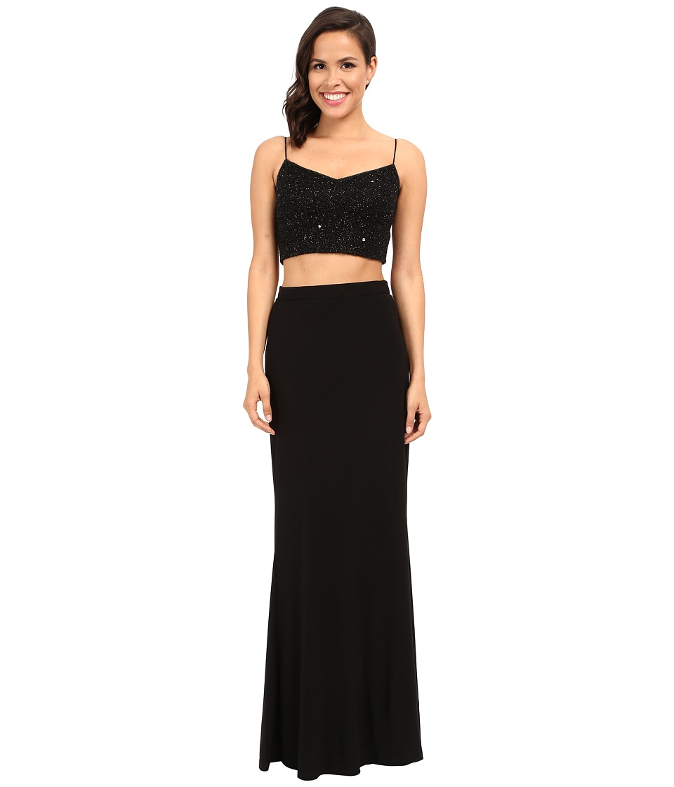Adrianna Papell - Two-Piece Sleeveless Bead Mesh Gown (Black) Women's Dress