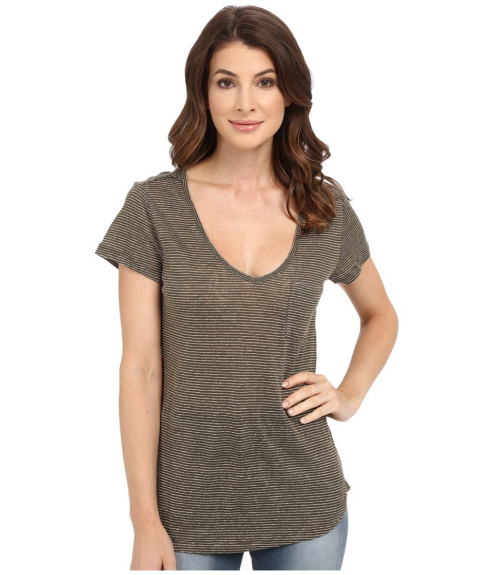 Paige Lynnea Tee (Desert Olive/White Stripe) Women's Short Sleeve Pullover