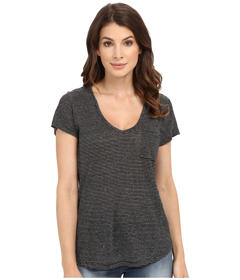 Paige - Lynnea Tee (Black/White Stripe) Women's Short Sleeve Pullover