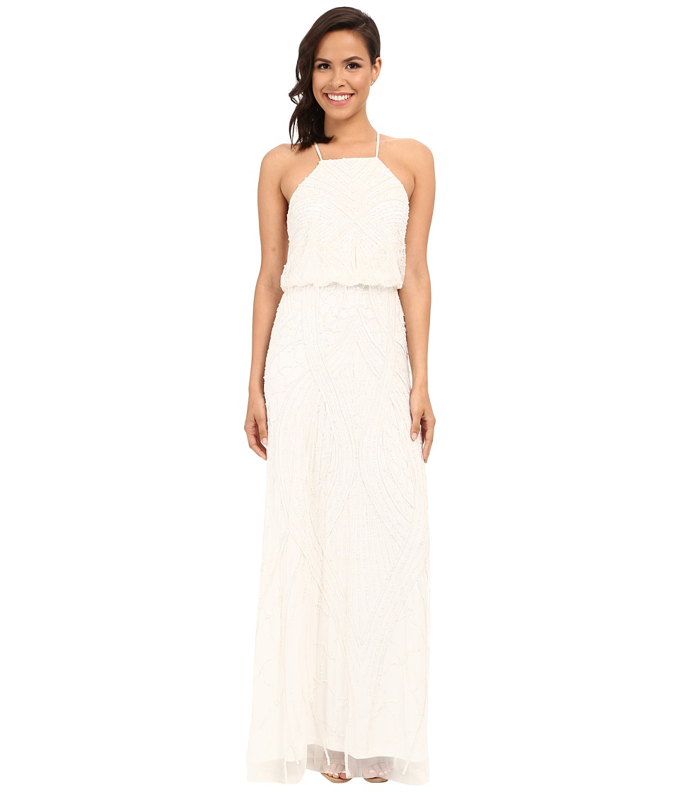 Adrianna Papell - Halter Fully Beaded Gown (Ivory) Women's Dress