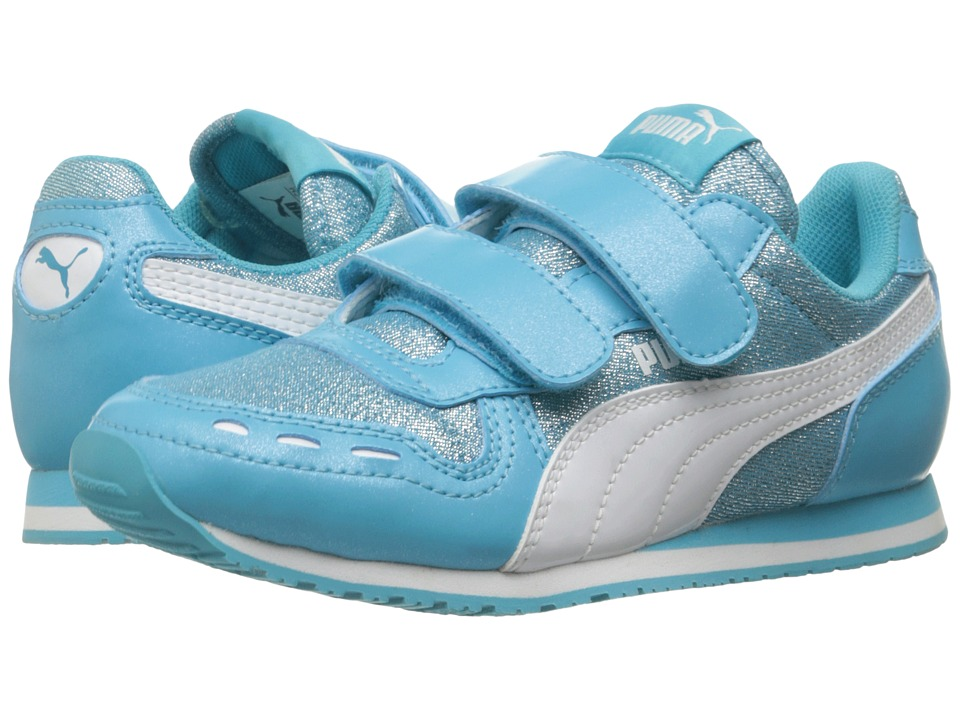 Puma Kids Cabana Racer Glitter V PS (Little Kid/Big Kid) (Blue Atoll/Puma White) Girls Shoes