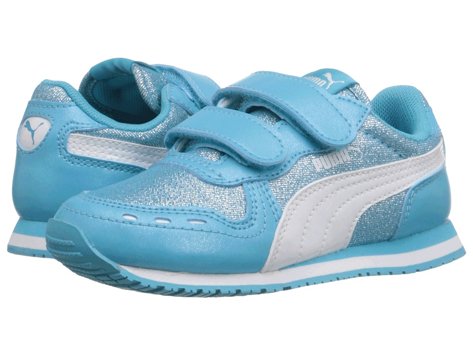 Puma Kids Cabana Racer Glitter V Inf (Toddler) (Blue Atoll/Puma White) Girls Shoes