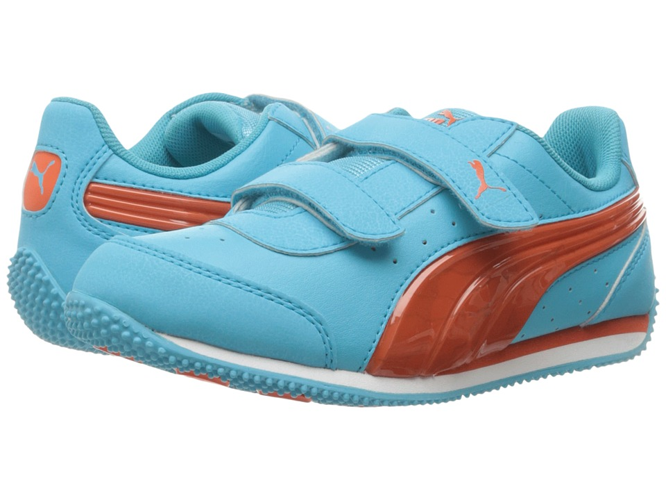 Puma Kids PUMA Speed Light Up V PS (Little Kid/Big Kid) (Blue Atoll/Mandarine Red) Girls Shoes