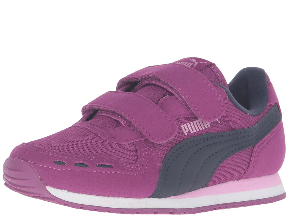 Puma Kids Cabana Racer Mesh V PS (Little Kid/Big Kid) (Hollyhock/Peacoat) Girls Shoes