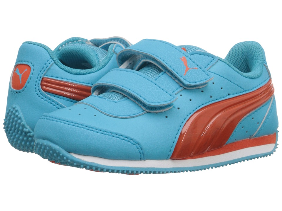 Puma Kids - PUMA Speed Light Up V Inf (Toddler) (Blue Atoll/Mandarine Red) Girls Shoes