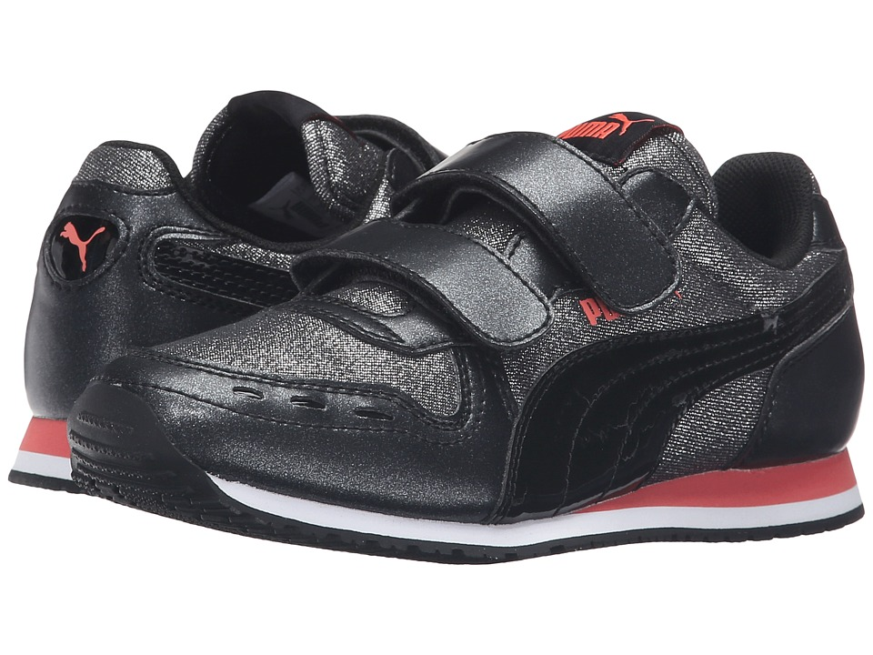 Puma Kids Cabana Racer Glitter V PS (Little Kid/Big Kid) (Puma Black/Puma Black) Girls Shoes